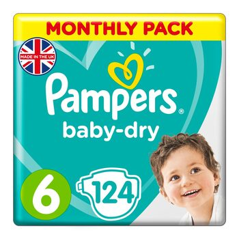 Pampers Baby Dry Nappies Size 6, Monthly 124 Pack