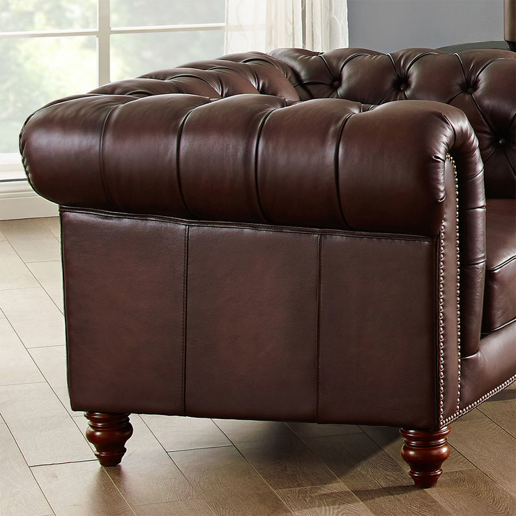 Allington 2 Seater Brown Leather Chesterfield Sofa Costco Uk