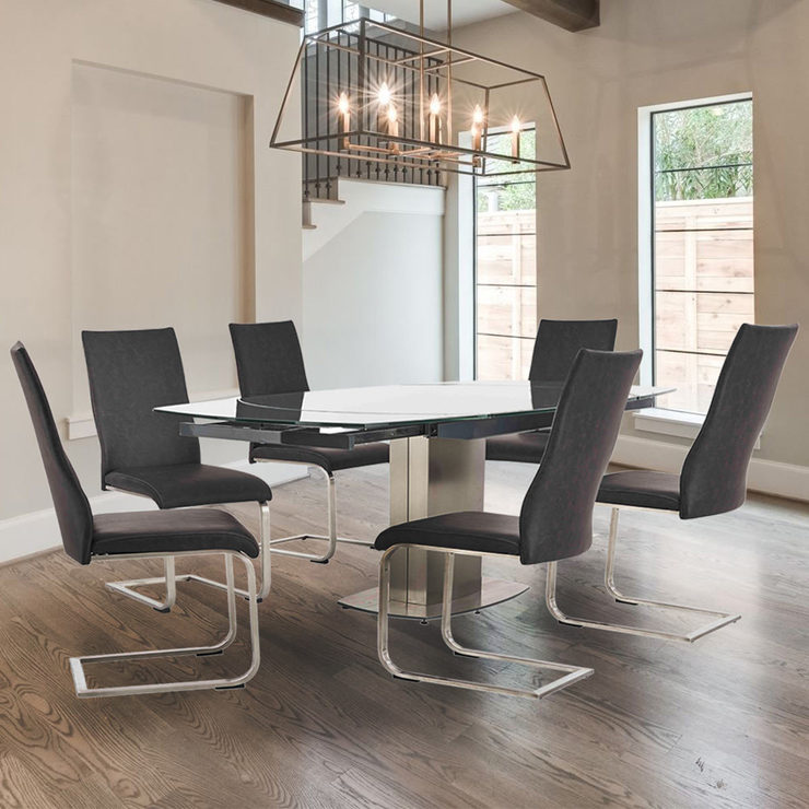 Salerno Glass Extending Dining Table + 6 Grey Chairs