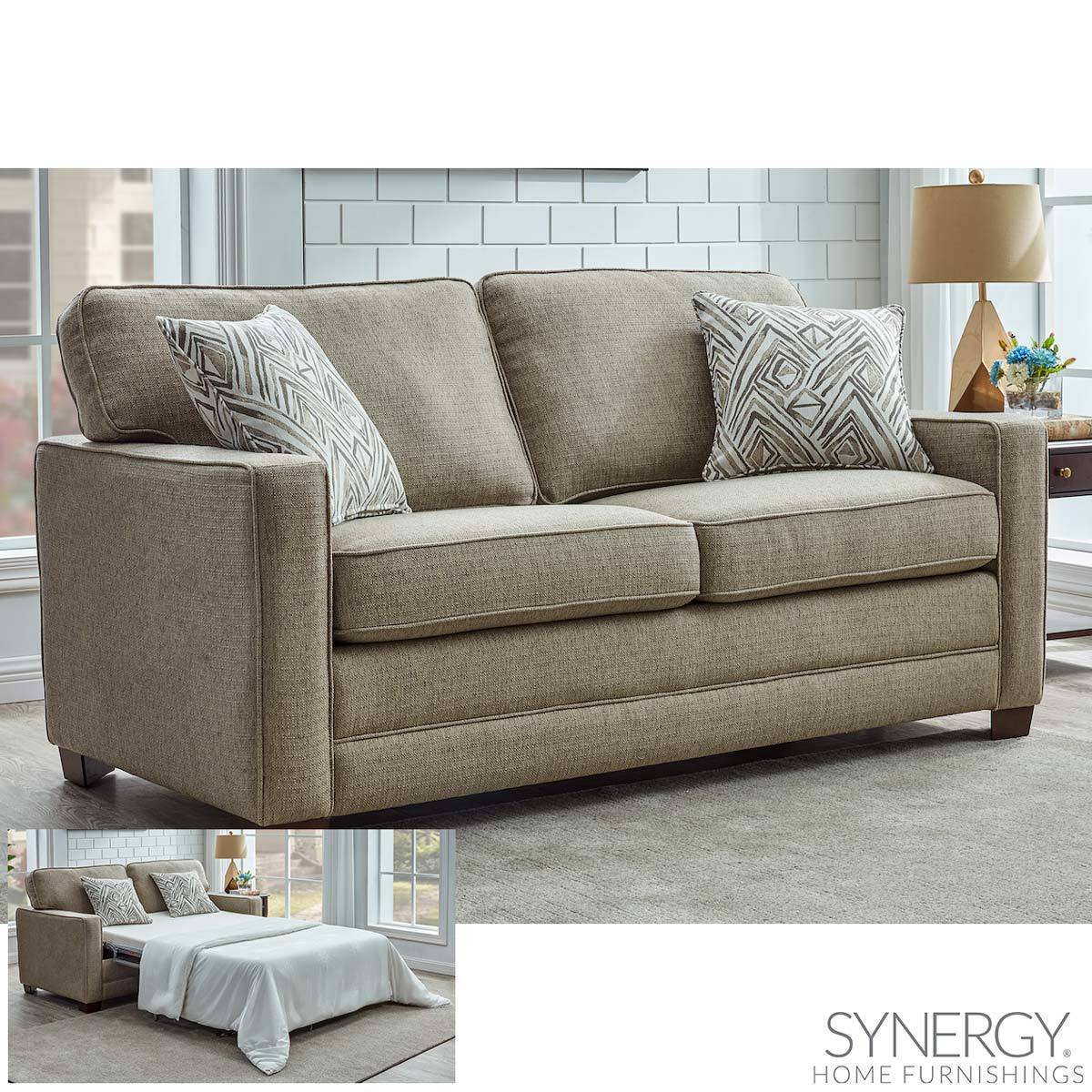 Landree Fabric Full Size Sleeper Sofa Bed With 2 Accent ...