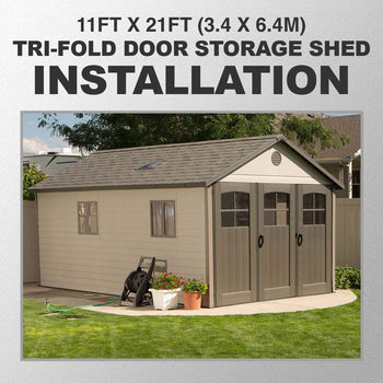 Installation for Lifetime 11ft x 21ft (3.4 x 6.4m) Tri-Fold Door Storage Shed
