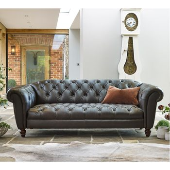 Wellington 3 Seater Semi Aniline Leather Chesterfield Sofa, Chocolate