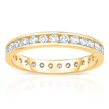 1.00ctw Round Brilliant Cut Diamond Eternity Ring, 18ct Yellow Gold,in 6 Sizes