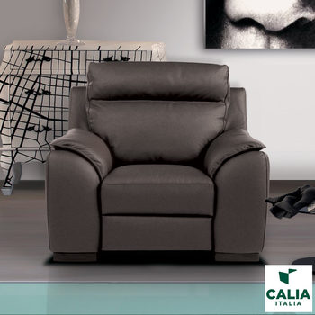 Calia Italia Serena Power Recliner Grey Italian Leather Armchair