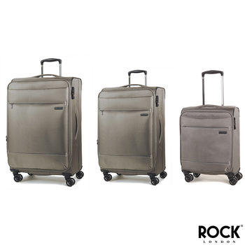 Rock Deluxe-Lite 3 Piece Softside Expandable Suitcase Set in Bronze