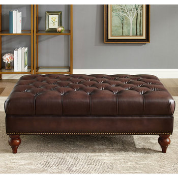 Allington Brown Leather Footstool
