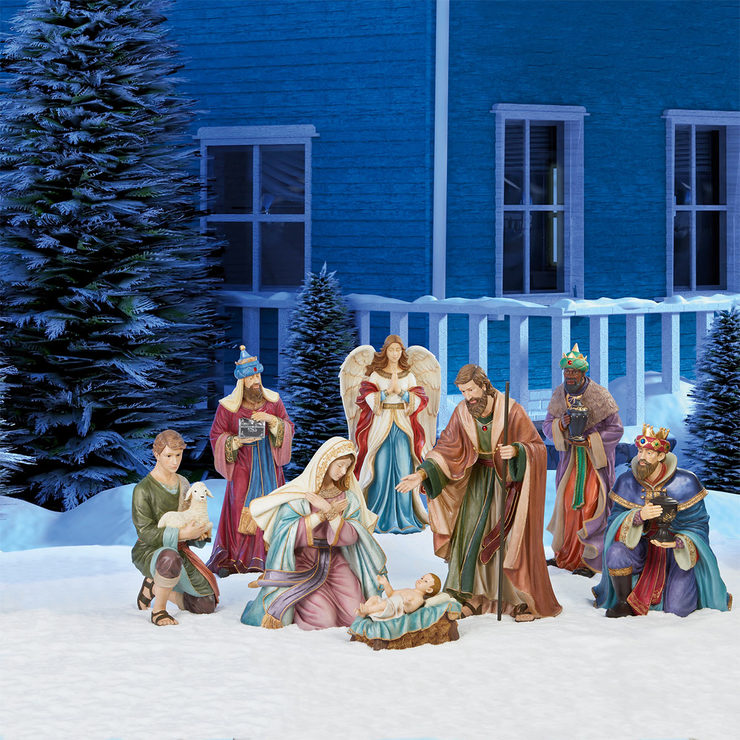 9 piece indooroutdoor handcrafted polyresin christmas nativity set