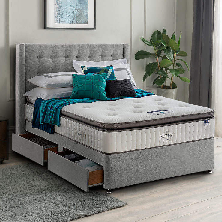 wholesale dealer a0c92 70572 Silentnight 4 Drawer Divan Base with Bloomsbury Headboard in Slate Grey,  King Size | Costco UK