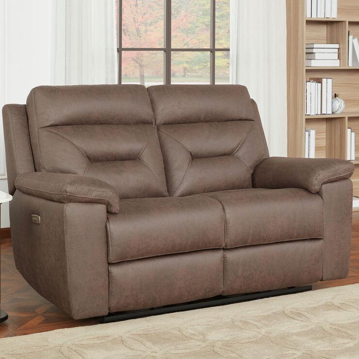 Kuka Justin Brown Fabric Power Reclining 2 Seater Sofa Costco Uk