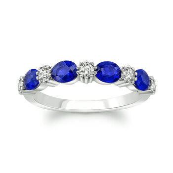 Blue Sapphire & 0.25ctw Diamond Ring, 18ct White Gold