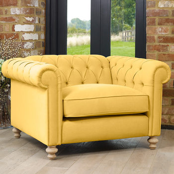 Chesterfield Button Back Fabric Snuggler Chair in 5 Colours