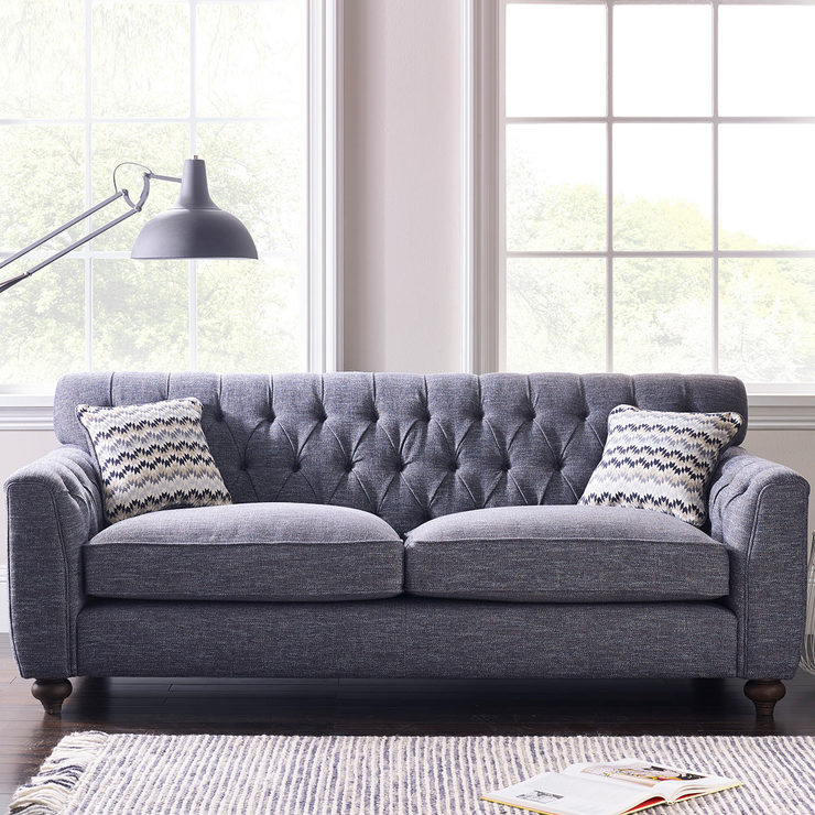 Avante Button Back 3 Seater Fabric Sofa With 2 Accent Pillows, Thunderstorm  Blue