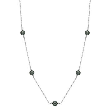 9-10mm Tahitian Pearl Necklace, 18ct White Gold