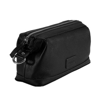 Dents Beauley Pebble Grain Leather Washbag, Black
