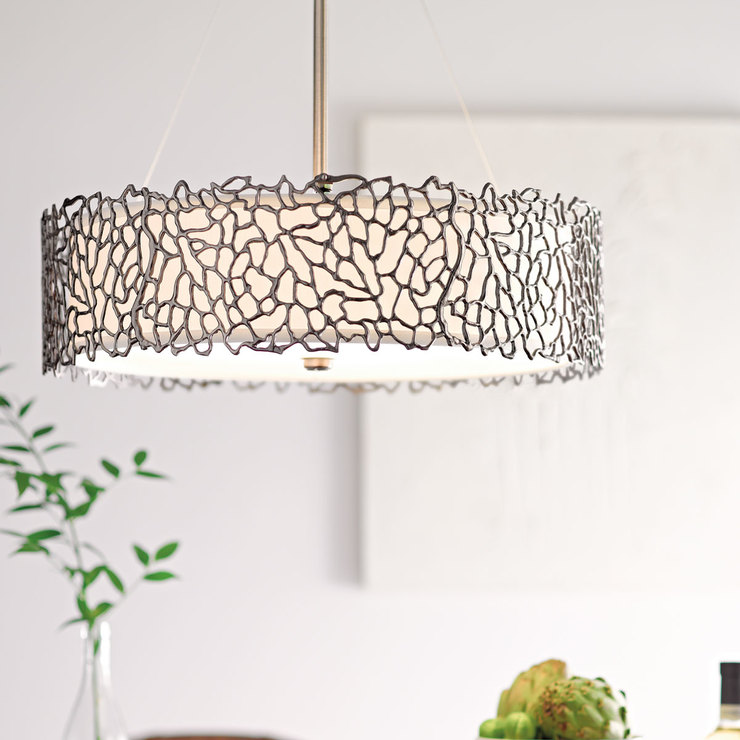 Kichler Silver Coral Three Light Duo Mount Pendant Ceiling Light In Classic Pewter Costco Uk