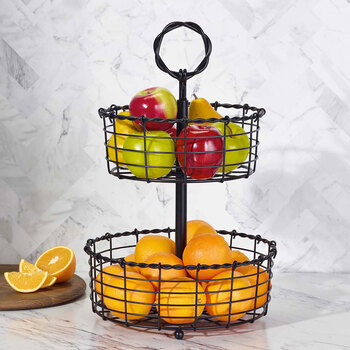 Edifice 2-Tier Steel Storage Basket with Stand