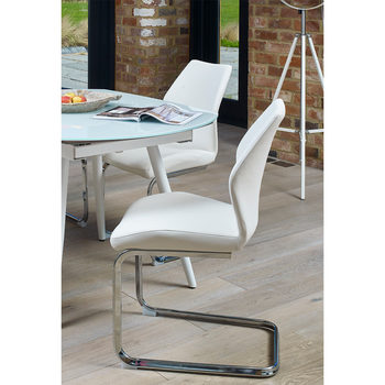 Monza White Faux Leather Cantilever Dining Chair, 2 Pack