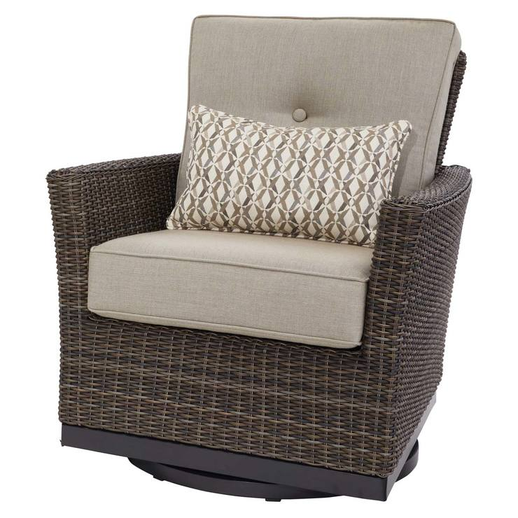 Agio Springdale 5 Piece Woven Fire Chat Patio Set + Cover