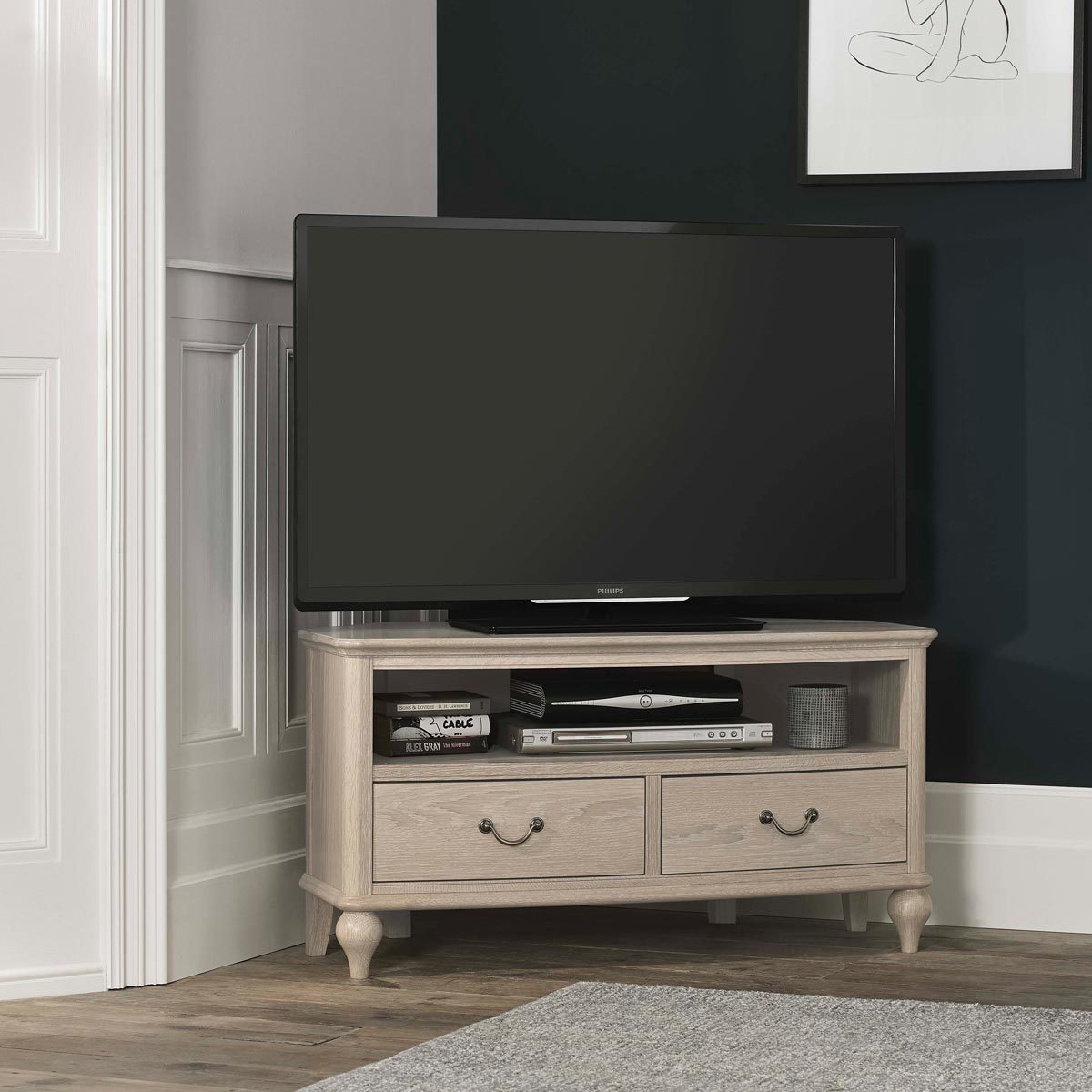 Bentley Designs Margaux Chalk Oak Corner Tv Cabinet For Tvs Up To 50 Costco Uk