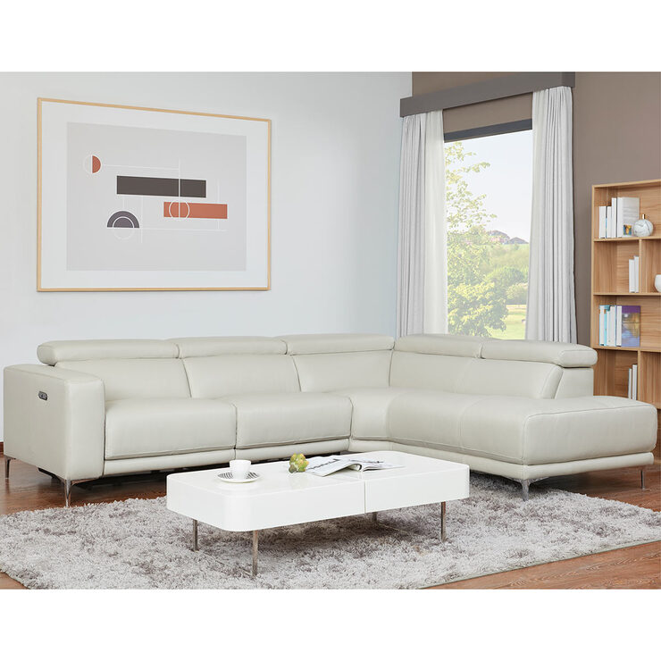 Kuka Justin Grey Fabric Power Reclining 3 Seater Sofa Costco Uk