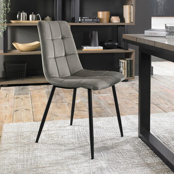 Bentley Designs Grey Velvet Tapered Back Dining Chair, 2 Pack