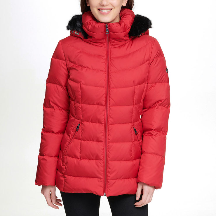 8a2b7313b08 Andrew Marc Women s Short Down Jacket with Hood in Crimson ...