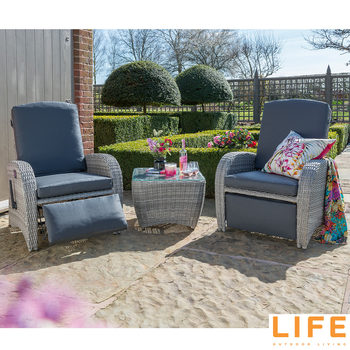 LIFE Outdoor Living Brisbane 3 Piece Reclining Chat Set