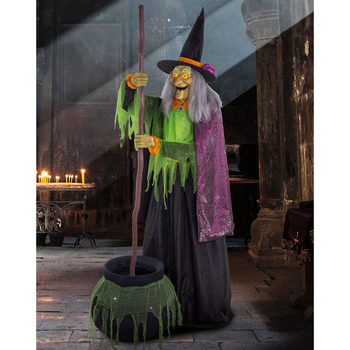 "Halloween 5ft 9"" (177cm) Animated Witch With Stirring Cauldron"