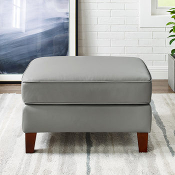 West Park Light Grey Leather Footstool