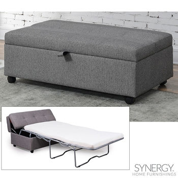 Synergy Home Furnishings Grey Fabric Sleeper Ottoman