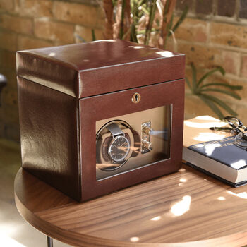 Dulwich Designs Leather Windsor Single Watch Rotator in Brown