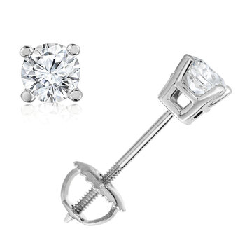 0.46ctw Round Brilliant Cut Diamond Stud Earrings, 18ct White Gold