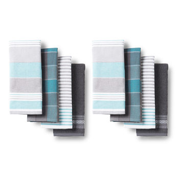 Town & Country Bistro Kitchen Towels 8 Pack in 3 Colours