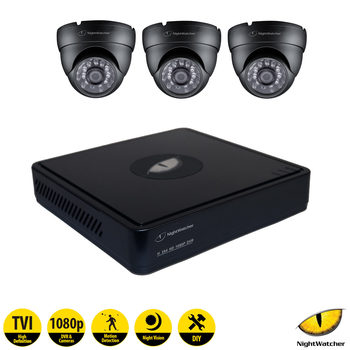 NightWatcher NW-4TV1-1TB-C1080D 4 Channel Digital Video Recorder with 3 x Dome Cameras