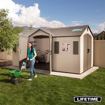 Installed Lifetime 15ft x 8ft (4.6 x 2.4m) Dual Entry Storage Shed with Windows