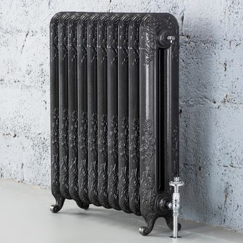 Arroll Daisy 2 Column (790 x 682mm) 10 Section Cast Iron Radiator in 2 Colours with Chrome or Copper Thermostatic Valves