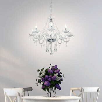 Eglo Basilano 8 Light Chandelier in Polished Chrome and Clear Glass