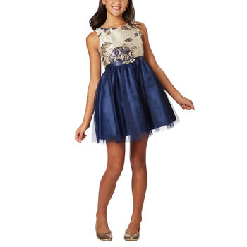 Zunie Girl's Special Occasion Dress in Navy Rose, Age 4-12