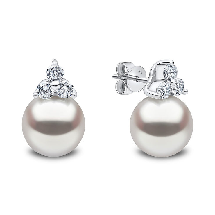 afbb529c3 12.5-13mm South Sea White Pearl and 1.01ctw Diamond Earrings, 18ct White  Gold