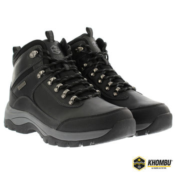 Khombu Men's Black Leather Hiking Boot in 6 Sizes