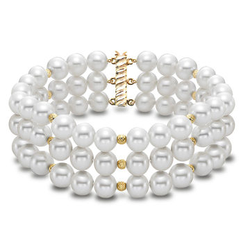 6.5-7mm Cultured Freshwater White Pearl 3 Strand Bracelet, 18ct Yellow Gold