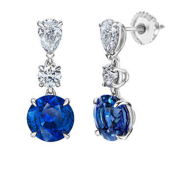 6.40ctw Round Cut Blue Sapphire and 1.39ctw Diamond Earrings, Platinum