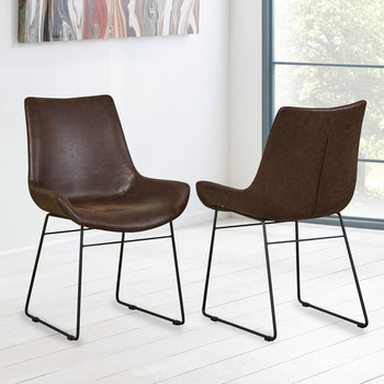 Barnyard Brown Faux Leather Scoop Dining Chair, 2 Pack