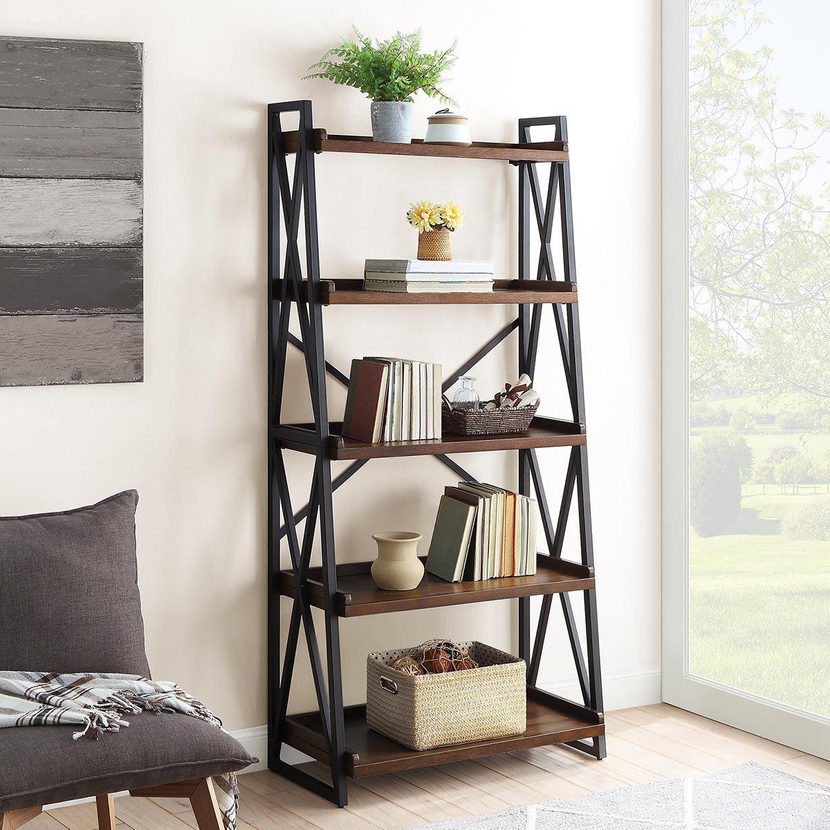 Bayside Furnishings Ladder Bookcase With 5 Fixed Shelves Costco Uk