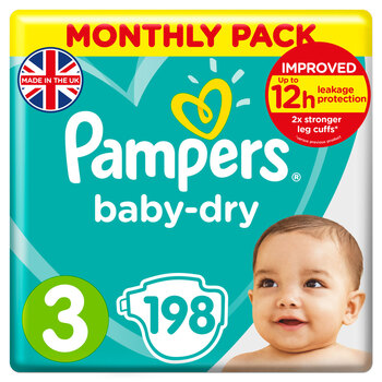 Pampers Baby Dry Nappies Size 3, Monthly 198 Pack