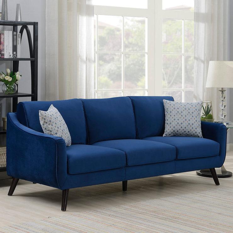 Bainbridge Blue Velvet 3 Seater Sofa | Costco UK