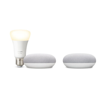 Google Nest Mini x2 with Phillips Hue B22 White Bulb