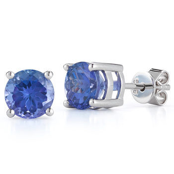 1.90ctw Round Cut Tanzanite Earrings, 14ct White Gold