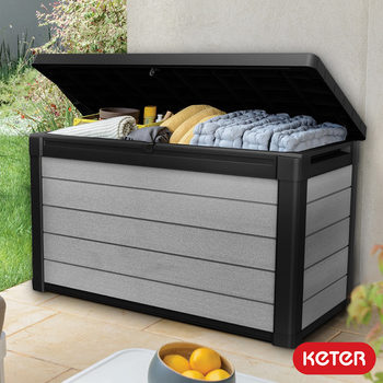 Keter Denali 380 Litre Wood Look Duotech Outdoor Storage Deck Box