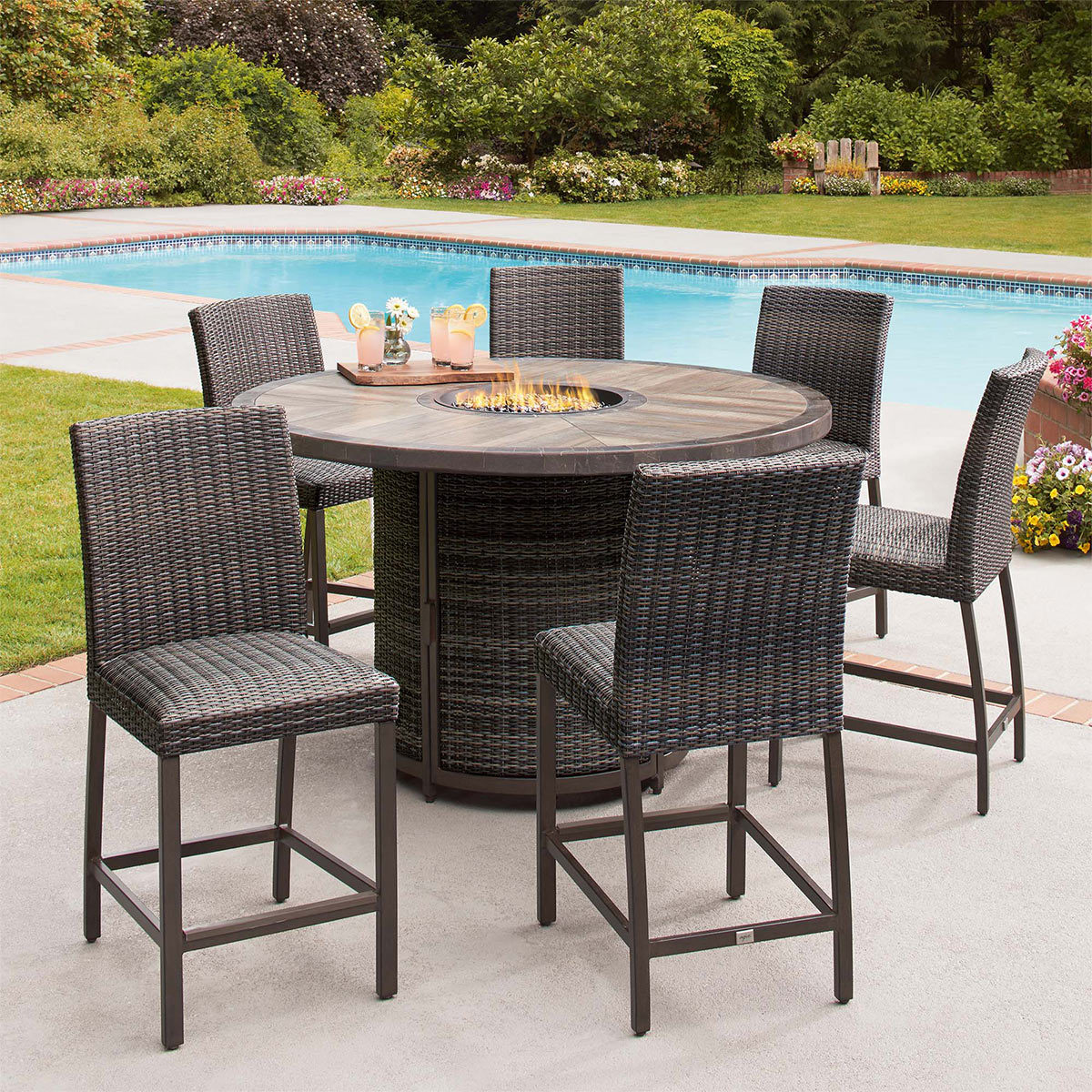 Agio St Louis 7 Piece Woven Bar Height Fire Chat Set Cover Costco Uk